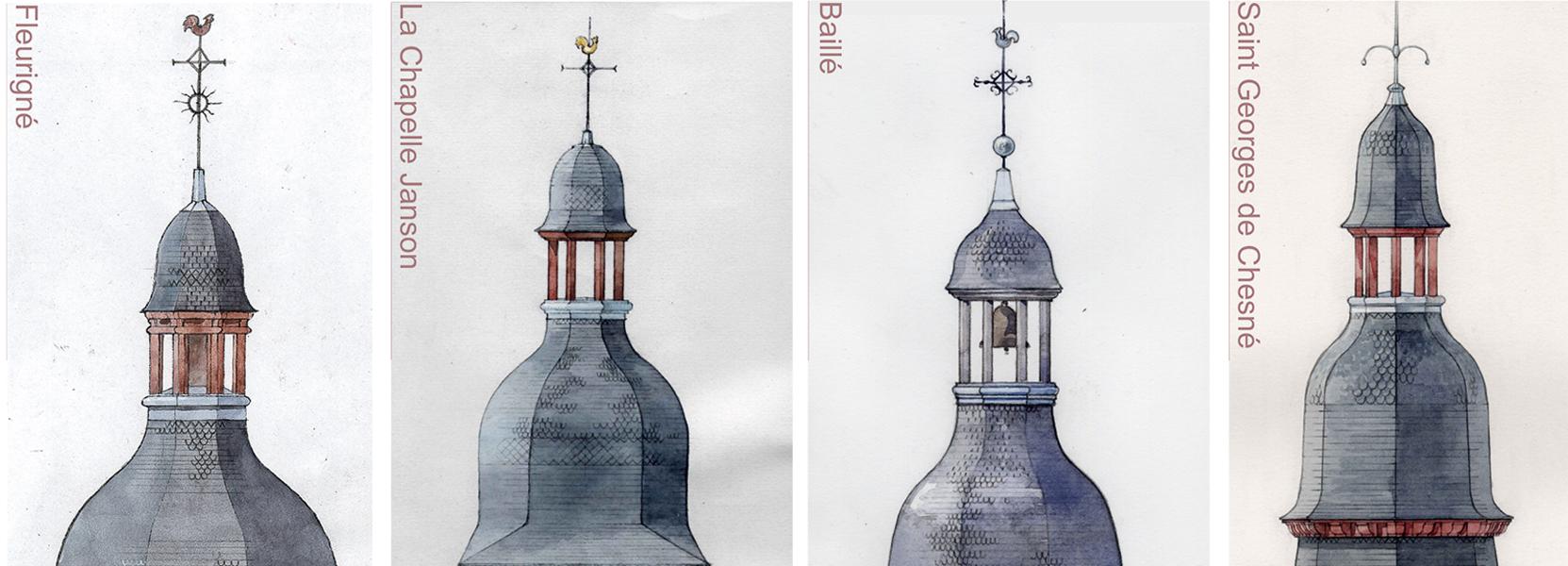 Clocher de Bretagne - Aquarelle Piotr Candio